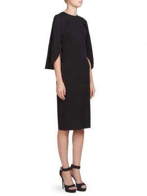 Cape-Detail Silk Crepe De Chine Dress, Black