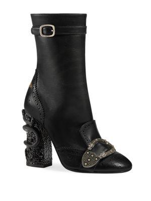 Women'S Queercore Leather & Crystal Snake Block Heel Booties in Black