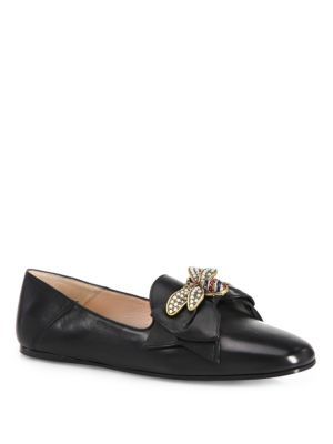 Leather Ballet Flats With Bow, Black