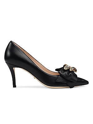 7c75639f1 Gucci - Leather Mid-Heel Pumps With Bow - saks.com
