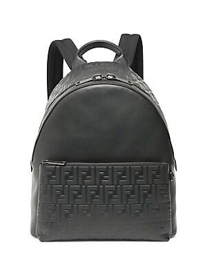 228e84efc33e Fendi - Leather Logo Embossed Backpack
