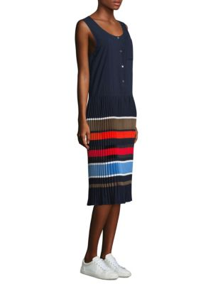 Jama Striped Pleated Crepe Sleeveless Dress in Navy
