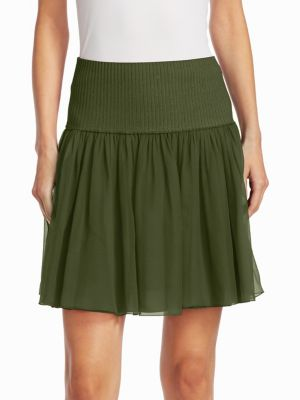 """Image of Layered silk skirt with ribbed knit waist. Ribbed waistband. About 18.50"""" long. Silk. Dry clean. Made in Italy. Model shown is 5'10"""" (177cm) wearing US size 4."""
