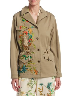 """Image of Embroidered monkeys and trees adorn elegant jacket. Notch lapels. Long sleeves. Buttoned cuffs. Button front. Chest and waist flap pockets. Drawstring waist. Exposed seams. About 25"""" from shoulder to hem. Cotton. Dry clean. Made in Italy. Model shown is 5"""