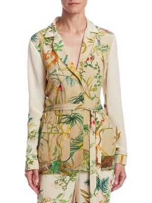 """Image of Delicate prints from nature adorn luxurious silk jacket. Notch lapels. Long sleeves. Side self-tie wrap waist closure. Waist flap pockets. About 29"""" from shoulder to hem. Silk. Dry clean. Made in Italy. Model shown is 5'10"""" (177cm) wearing US size 4."""