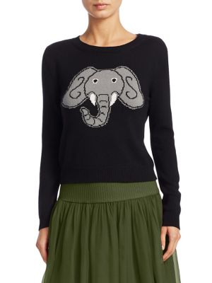 """Image of Elephant print adorns classic sweater. Crewneck. Long sleeves. Rib-knit cuffs and hem. Pullover style. About 26"""" from shoulder to hem. Cotton/silk/cashmere. Dry clean. Made in Italy. Model shown is 5'10"""" (177cm) wearing US size 4."""