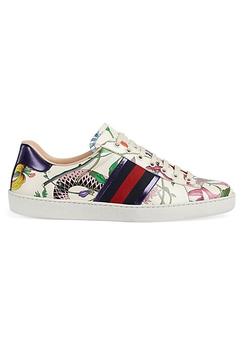 Image of Floral snake print. Blue and red web detail on sides. Red metallic leather detail on the back of one shoe. Blue metallic leather detail on other shoe. Leather upper. Round toe. Lace-up closure. Rubber sole. Padded insole. Made in Italy.