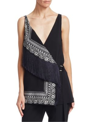 Cheyanne Fringed Stretch Jersey Top in Black Multi from Saks Off 5TH