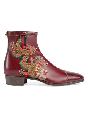 Webbing-Trimmed Embroidered Leather Chelsea Boots, Bordeaux