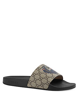 7567edc4a063 Gucci - Pursuit GG Supreme Wolf Slides - saks.com