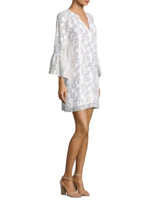 "Image of Tunic dress with flounce sleeves. Splitneck. Long bell sleeves. About 35"" from shoulder to hem. Silk/metallic threading. Dry clean. Imported. Model shown is 5'10"" (177cm) wearing a size Small."