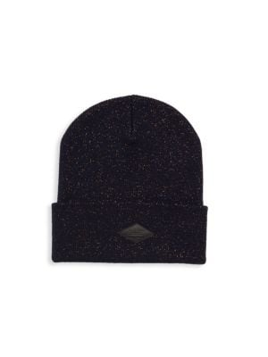 """Image of Subtle sparkles elevate essential fitted beanie. Cuffed brim with logo patch. Width, about 10"""".Wool/polyester/polyamide. Dry clean. Imported."""