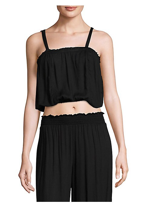 """Image of Draped cropped top with shirred top detailing. Squareneck. Shoulder straps. Sleeveless. About 15"""" from shoulder to hem. Rayon. Hand wash. Imported. Model shown is 5'10"""" (177cm) wearing size Small."""