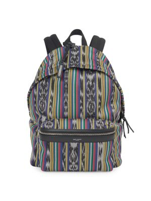 City Leather-Trimmed Cotton-Canvas Backpack, Beige Ebony