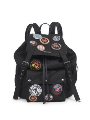 SAINT LAURENT Noe Black Gabardine Patch-Work Backpack, Black Multi