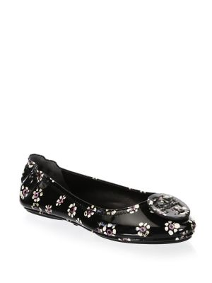 Women'S Minnie Patent Leather Travel Ballet Flats in Black Stamped Floral