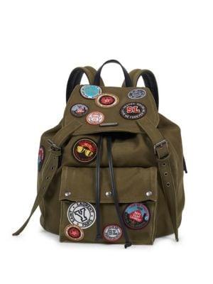 SAINT LAURENT Noe Green Gabardine Patch-Work Backpack, Khaki