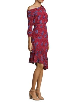 "Image of Vivid florals cover silk crepe de chine dress. Asymmetrical neckline. Three-quarter length sleeves. Elasticized cuffs. Concealed side zip. Banded waist. Tiered asymmetrical flounce hem with pleated layer. About 43"" from shoulder to hem. Silk. Dry clean. I"