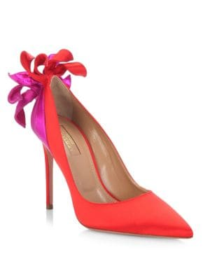 Fire Embellished Satin Pumps in Red from Saks Off 5TH