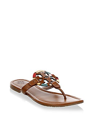 925def037 Tory Burch - Miller Embroidered Thong Sandals - saks.com