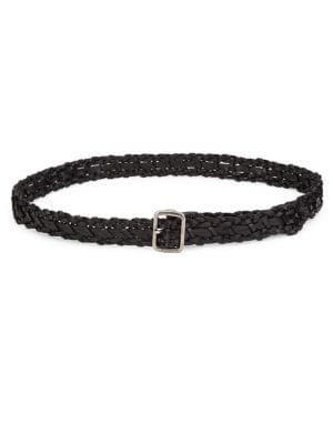 Studded Braided Leather Belt in Black
