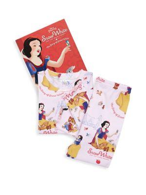 Toddlers  Little Girls ThreePiece Snow White Cotton Pajamas  Book Set