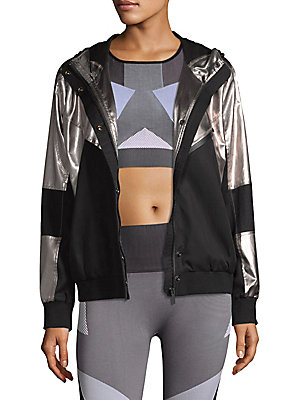 """Image of Metallic cotton-blend jacket in colorblock design Attached hood Long sleeves Rib-knit cuffs and hem Front zip pocket Concealed front zip with snap closure About 25"""" from shoulder to hem Cotton/tencel Machine wash Imported Model shown is 5'10"""" (177cm) wear"""