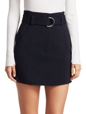 "Image of Belted mini skirt with D-ring detail. Belted waist. Front zip-fly with concealed closure. Front seam pockets. Back welt pockets. About 18"" long. Viscose/wool/elastane. Dry clean. Imported. Model shown is 5'10"" (177cm) and wearing US size 4."