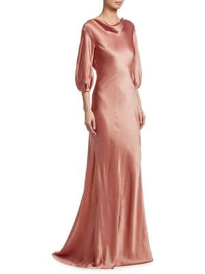 """Image of Elegant cowl neck gown in pure silk. Cowl neck. Three-quarter sleeves. Back zip closure. Fully lined. About 62"""" from shoulder to hem. Silk. Dry clean. Made in Italy. Model shown is 5'10"""" (177cm) wearing US size 4."""