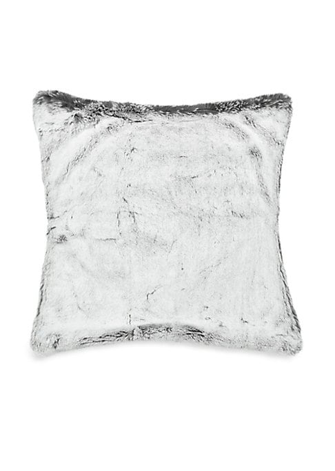 "Image of .Luxurious faux fur pillow with luscious velvet backing.20""W x 20""H.Polyester. Fill: Duck/down feathers. Fur type: Faux. Spot clean. Made in Canada."
