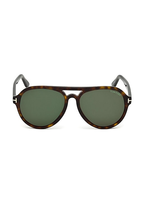 Image of EXCLUSIVELY AT SAKS FIFTH AVENUE. Classic sunglasses in solid color.57mm lens width; 17mm bridge width; 145mm temple length.100% UV protection. Tinted CR-39 lenses. Metal accent T on temple. Case and cleaning cloth included. Acetate. Made in Italy.