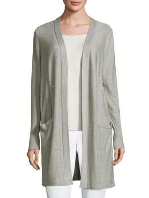 "Image of Open-front cardigan. Long sleeves. Waist slip pockets. About 34"" from shoulder to hem. Silk/polyamide/polyethylene/cotton. Dry clean. Imported. Model shown is 5'10"" (177cm) wearing a size Small."