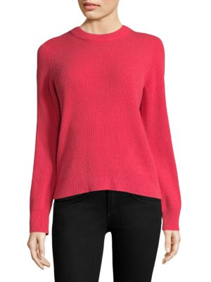 """Image of EXCLUSIVELY AT SAKS FIFTH AVENUE. Cashmere ribbed knit sweater. Crewneck. Long sleeves. Pullover style. About 25"""" from shoulder to hem. Cashmere. Dry clean. Imported. Model shown is 5'10"""" (177cm) and wearing US size Small."""