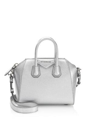 Mini Metallic Antigona Leather Tote by Givenchy