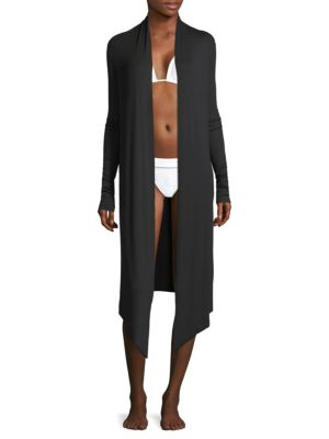 "Image of From the Resort Collection. Plunging long cardigan with an asymmetrical hem. Open front. Long sleeves. Relaxed-fit. About 39"" from shoulder to hem. Modal/silk/elastane. Hand wash. Imported."