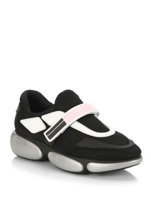Cloudbust Logo-Embossed Rubber And Leather-Trimmed Mesh Sneakers, Nero Argento