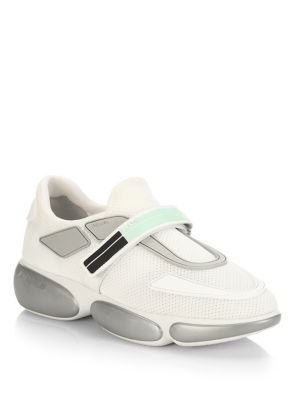 Cloudbust Logo-Embossed Rubber And Leather-Trimmed Mesh Sneakers, Argento Aqua