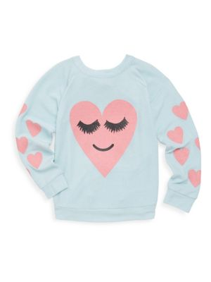 Toddlers Little Girls  Girls Heart with Sleepy Eyes Pullover