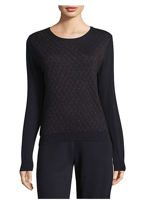 """Image of Cotton-blend sweater with quilted front. Crewneck. Long sleeves. Rib-knit cuffs and hem. About 23"""" from shoulder to hem. Cotton/cashmere/nylon/spandex. Dry clean. Imported. Model shown is 5'10"""" (177cm) wearing size Small."""