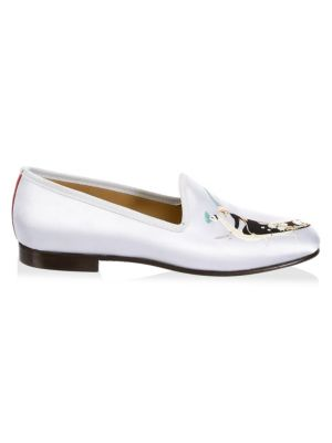 DEL TORO Embroidered Satin Loafers in Silver