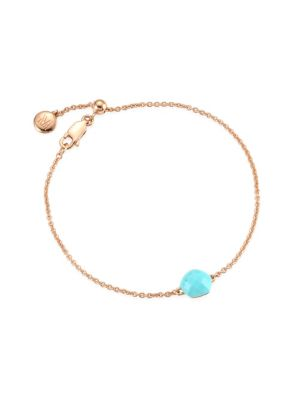"""Image of From the Nura Collection. Refined chain bracelet, with bright turquoise. Turquoise.18K gold vermeil. Length, 6.6"""".Lobster clasp closure. Imported."""