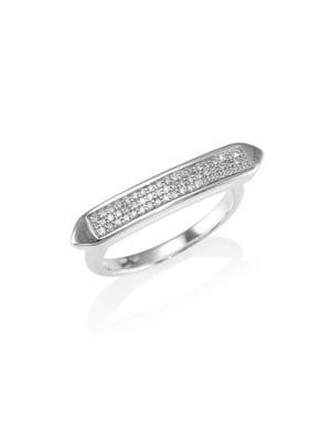 MONICA VINADER Baja Skinny Diamond Stacking Ring in Silver
