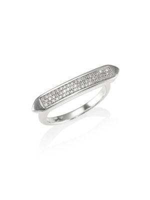 Baja Skinny Diamond Stacking Ring, Silver