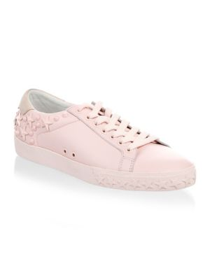 Women'S Dazed Embellished Leather Lace Up Sneakers in Pink