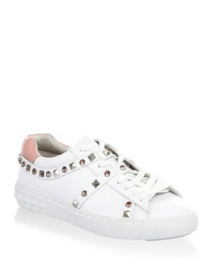 Stud And Gem Embellished Sneakers, White/Blush