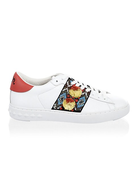 Image of Leather sneakers with bead detailing on sides. Leather upper. Round toe. Lace-up vamp. Leather lining. Rubber sole. Imported.