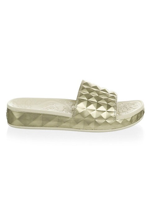 Image of Casual faux leather slides with a raised design. Faux leather upper. Open toe. Slip-on style. Rubber sole. Imported.