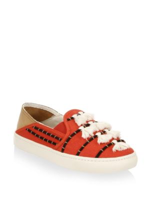 Tassel Cotton Canvas Slip-On Sneakers, Red/ Beige