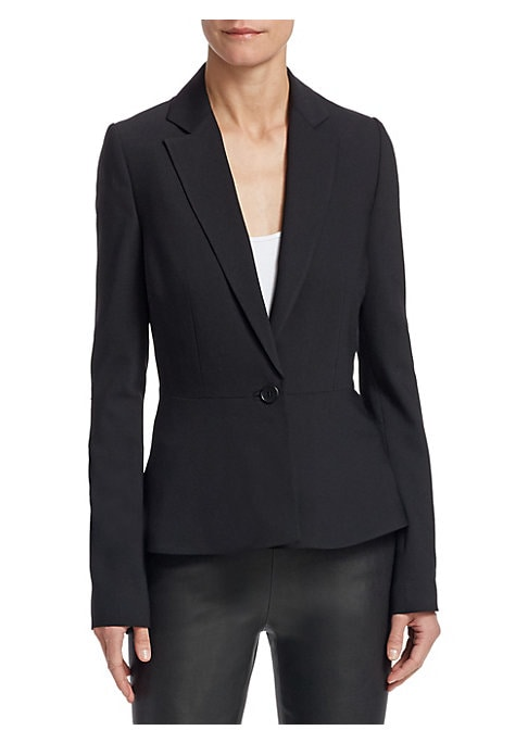 """Image of EXCLUSIVELY OURS. Classic suit jacket tailored from wool-blend fabric. Notch lapels. Long sleeves. Button front. Wool/elastane. Dry clean. Imported. Model shown is 5'10"""" (177cm) wearing a size 4."""