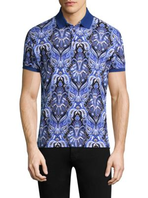 """Image of Elevate your casual style with this patterned cotton polo. Polo collar. Short sleeves. Rib-knit armband. Three-button placket. About 28"""" from shoulder to hem. Cotton. Dry clean. Made in Italy."""